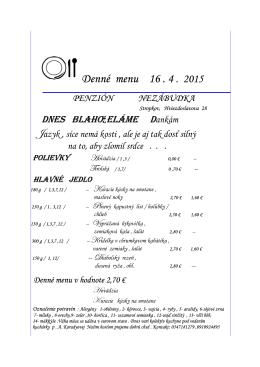 Denné Denné menu 10 . 4 . 2015