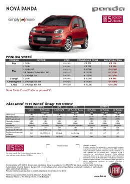 Cenník - Fiat