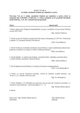 Pozvánka na riadne zasadnutie Komisie pre legislatívu a