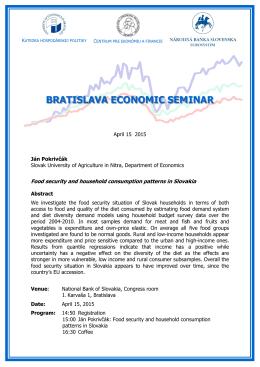Pozvánka na Bratislava Economic Seminar 15. 4. 2015