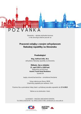 Pracovné raňajky s novým veľvyslancom Rakúskej republiky na