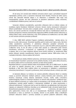 Stanovisko Kancelárie WHO na Slovensku k súčasnej