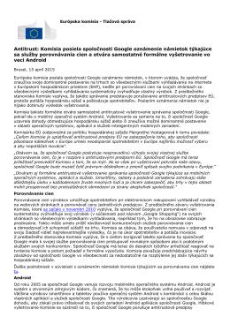 Antitrust: Komisia posiela spoločnosti Google oznámenie
