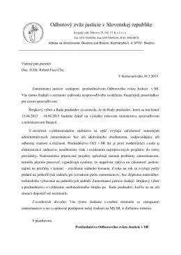 List premiérovi SR 30.3.2015 - Odborový zväz Justície v SR