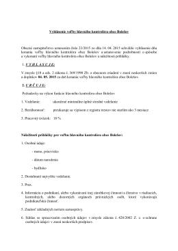 Vyhlásenie voľby hlavného kontrolóra obce Bolešov
