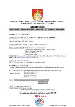XIII.Ročník o Pohár primátora mesta Stará Ľubovňa, 9.5
