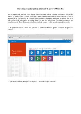 Návod na použitie funkcie okamžitých správ v Office 365