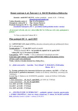 Plán aktiviít apríl 2015
