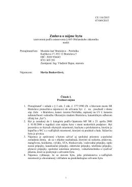Zmluva č. 116/2015 o nájme bytu
