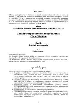 Návrh Všeobecného záväzného nariadenia O zásadách