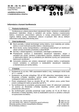 """Pozvánka na 11. konferenciu """"BETÓN 2015"""