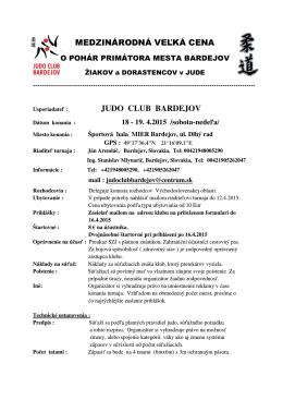 Rozpis - Judo club Slavia STU Bratislava