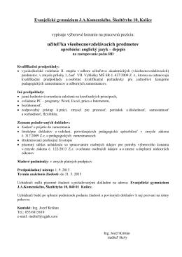 učiteľ ANJ-DEJ - Evanjelické gymnázium Jána Amosa Komenského
