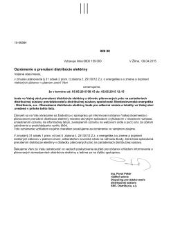 Vyrozumenie o prerušení distribúcie elektriny 5.5.2015