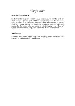 15. 4. 2015 Odpis stavu elektromerov Ponuka práce