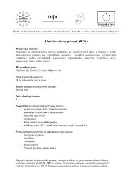 Administratívny personál (RPK) - Metodicko