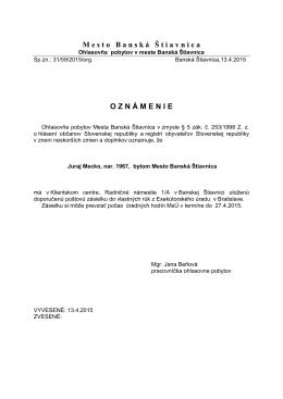 Juraj Mecko s trvalým pobytom mesto Banská Štiavnica