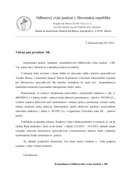 List prezidentovi SR 30.3.2015