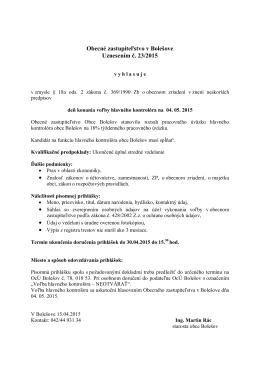 Obecné zastupiteľstvo v Bolešove Uznesením č. 23/2015