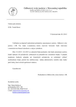 List ministrovi spravodlivosti SR 30.3.2015
