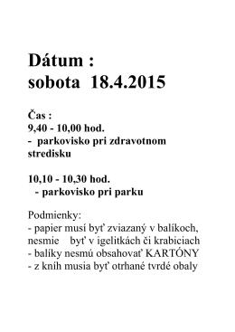 Dátum : sobota 18.4.2015