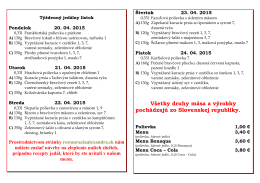 Týždenný jedálny lístok v PDF