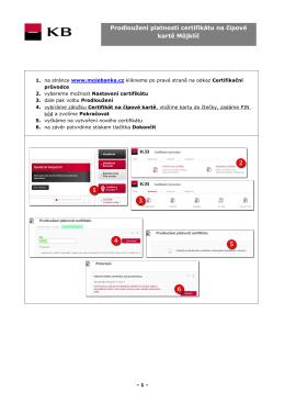 Prodloužení platnosti certifikátu na čipové kartě Můjklíč