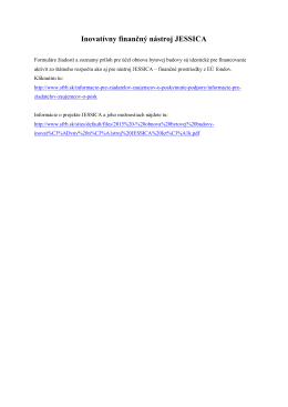 Inovatívny finančný nástroj JESSICA (16.4.2015)