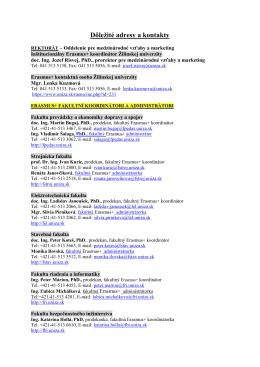 Dôležité adresy a kontakty 2015/2016