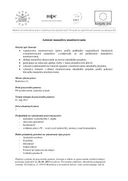 Asistent manažéra monitorovania - Metodicko