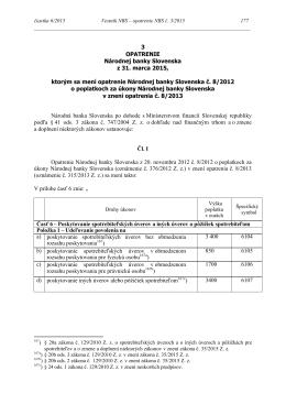 Opatrenie Národnej banky Slovenska z 31. marca 2015 č. 3/2015