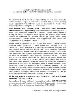 OZNAM – Kniha Drevený život, kamenný chlieb s podtitulom Ľudové
