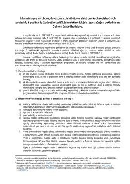 Informácia pre výrobcov, dovozcov a distribútorov elektronických