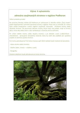 Výzva k vytvoreniu adresára zaujímavých stromov v regióne Podhoran