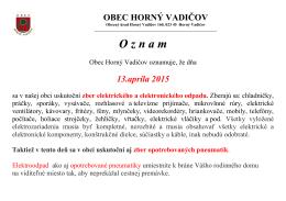 oznam obce horný vadičov – zber elektroniky, pneumatík – 13.04.2015