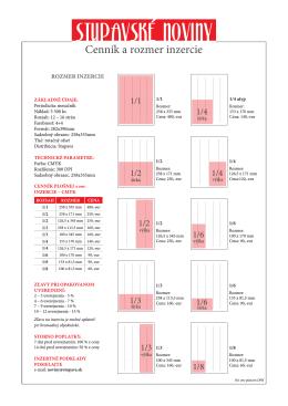 Cenník a rozmer inzercie pdf.