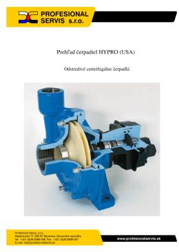 Podrobný prehľad technických údajov centrifugálnych čerpadiel Hypro