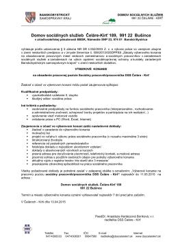 Výberové konanie - sociálny pracovník 11.05.2015 - DSS Čeláre-Kírť