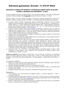 Kritériá na prijímacie skúšky - Súkromné gymnázium, Oravská 11