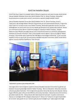Rektörümüz Kanal A`da Canlı Yayın Konuğuydu