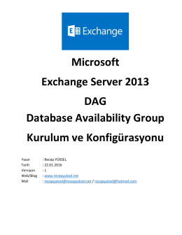 Microsoft Exchange Server 2013 DAG Database