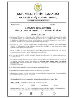 KGS 1. Oturum Soru Kitapçığı - KKTC Milli Eğitim Bakanlığı