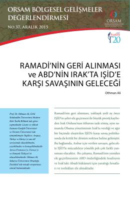 Ramadi`nin GeRi alınması ve aBd`nin ıRak`ta ıŞid`e kaRŞı