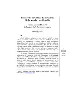 Tocqueville`in Cezayir Raporlarında Doğa Yasaları ve Güvenlik