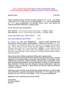 2015/4. GEÇİCİ VERGİ DÖNEMİ İÇİN ENFLASYON DÜZELTMESİ