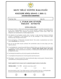 KGS 2. Oturum Soru Kitapçığı - KKTC Milli Eğitim Bakanlığı
