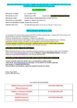 23-24 Şubat Okul Sporları Minikler ve Küçükler