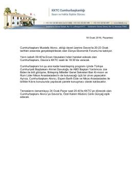 Cumhurbaşkanı Mustafa Akıncı, aldığı davet üzerine Davos`ta 20