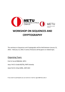 WORKSHOP ON SEQUENCES AND CRYPTOGRAPHY