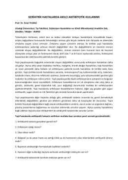 geriatrik hastalarda akılcı antibiyotik kullanımı